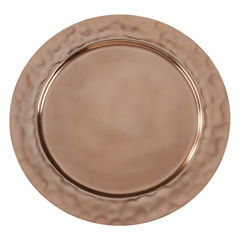 Aluminum Table Chargers with Hammered Rim (Set of 4)