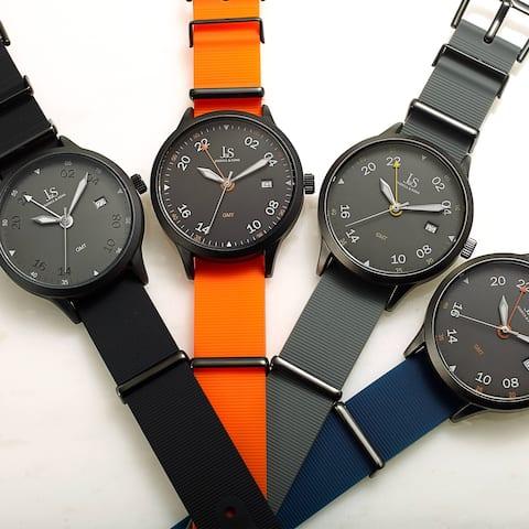 Joshua & Sons Sporty Men's GMT Flexible Textured Strap Watch - Black