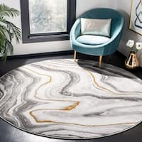 "Safavieh Craft Modern & Contemporary Abstract Grey / Gold Rug - 6'7"" x 6'7"" Round"