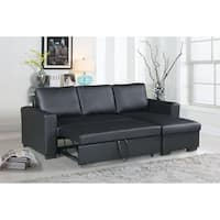 Bobkona Parker Faux Leather 2-Piece Sectional with Pull-Out Bed and Compartment in Black