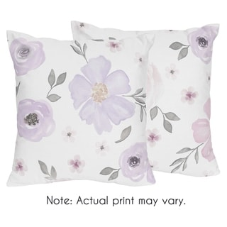 Sweet Jojo Designs Watercolor Floral Collection 18-inch Decorative Accent Throw Pillows (Set of 2)