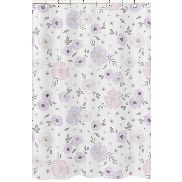 Shop Sweet Jojo Designs Lavender Purple Pink Grey And White Watercolor Floral Collection Bathroom Fabric Bath Shower Curtain