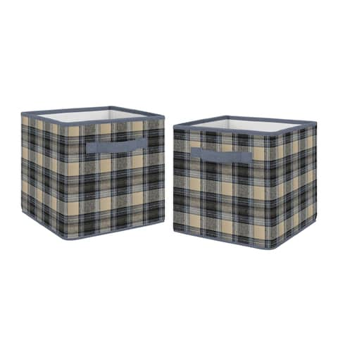 Sweet Jojo Designs Blue and Tan Woodland Plaid Flannel Rustic Patch Collection Storage Bins