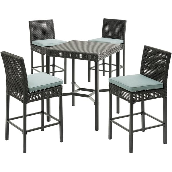 Hanover Malta 5-Piece High-Dining Patio Set with 4 Counter-Height Woven Chairs, 4 Blue Seat Cushions, and a 29-In. Square Table