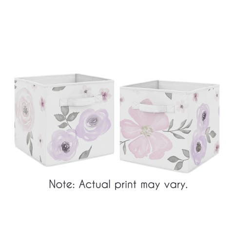 Sweet Jojo Designs Lavender Purple, Pink, Grey and White Watercolor Floral Collection Storage Bins