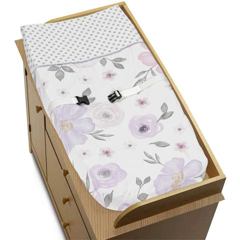 Sweet Jojo Designs Lavender Purple, Pink, Grey and White Watercolor Floral Collection Changing Pad Cover