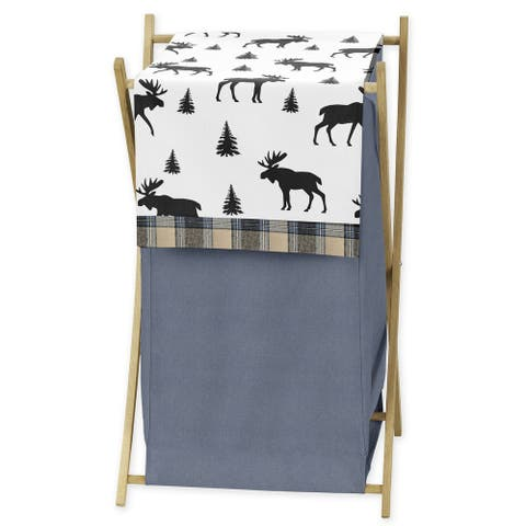 Sweet Jojo Designs Blue, Tan and Black Woodland Plaid and Moose Rustic Patch Collection Laundry Hamper