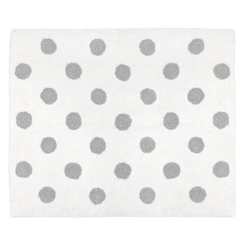 Sweet Jojo Designs Floral Collection Grey and White Polka Dot Watercolor Accent Rug - 2' x 3'