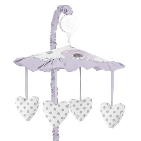 Sweet Jojo Designs Floral Collection Lavender Purple, Pink, Grey, and White Watercolor Musical Crib Mobile