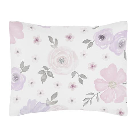 Sweet Jojo Designs Lavender Purple, Pink, Grey and White Watercolor Floral Collection Standard Pillow Sham