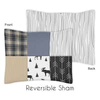 Sweet Jojo Designs Blue, Tan, Grey and Black Woodland Moose and Arrow Rustic Patch Collection Standard Pillow Sham