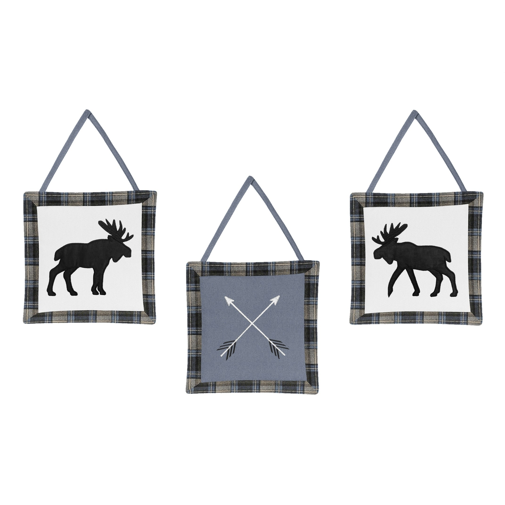Sweet Jojo Designs Blue Tan Black Woodland Plaid And Arrow Rustic Patch Collection Wall Hangings Set Of 3 Overstock 27278914