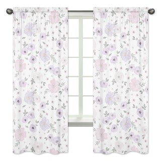 Sweet Jojo Designs Watercolor Floral Collection Lavender Purple Pink Grey White 84-inch Curtain Panel Pair (Set of 2)