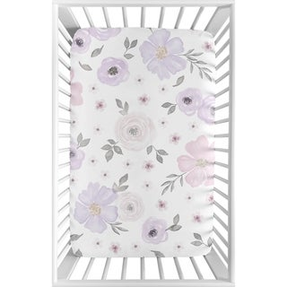 Sweet Jojo Designs Lavender Purple, Pink, Grey and White Watercolor Floral Collection Fitted Mini Portable Crib Sheet