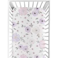 Sweet Jojo Designs Lavender Purple, Pink, Grey and White Watercolor Floral Collection Fitted Crib Sheet