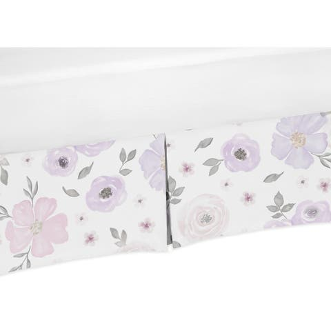 Sweet Jojo Designs Lavender Purple, Pink, Grey and White Watercolor Floral Girl Collection Crib Bed Skirt