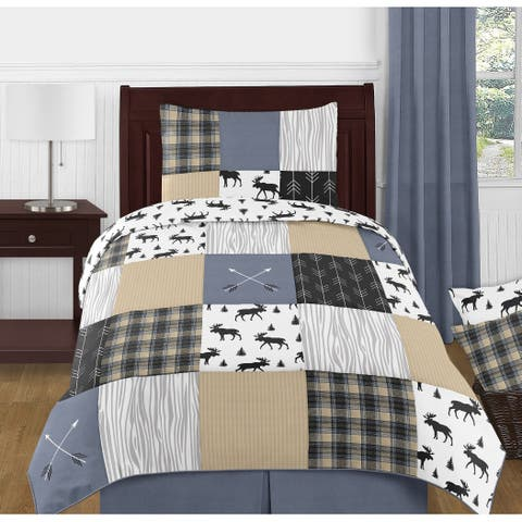 Sweet Jojo Designs Blue Tan Grey and Black Woodland Plaid and Arrow Rustic Patch Collection Boy 4-Piece Twin-size Comforter Set