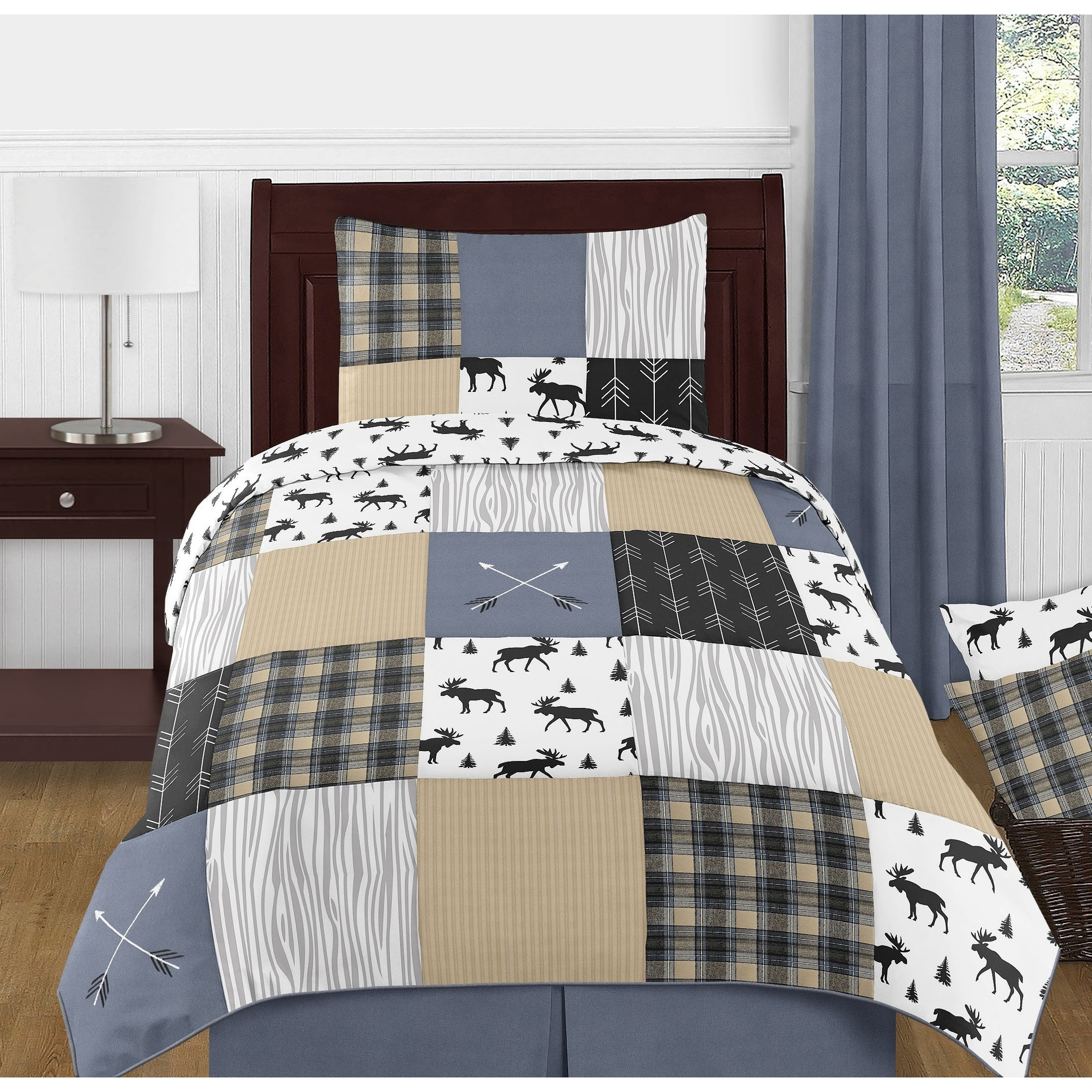 Sweet Jojo Designs Blue Tan Grey And Black Woodland Plaid And Arrow Rustic Patch Collection Boy 4 Piece Twin Size Comforter Set Overstock 27279015