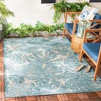 Safavieh Courtyard Indoor/Outdoor Transitional Geometric Grey / Aqua Rug - 8' x 11'