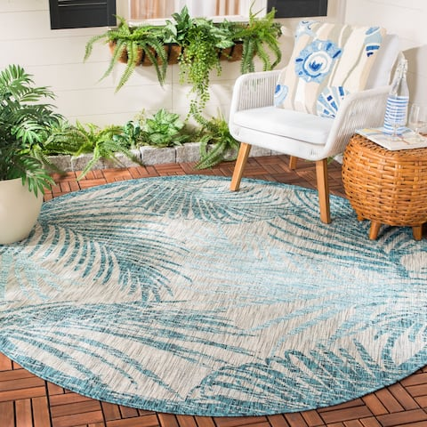 "Safavieh Courtyard Tropical Indoor/ Outdoor Grey / Aqua Rug - 6'7"" x 6'7"" Round"
