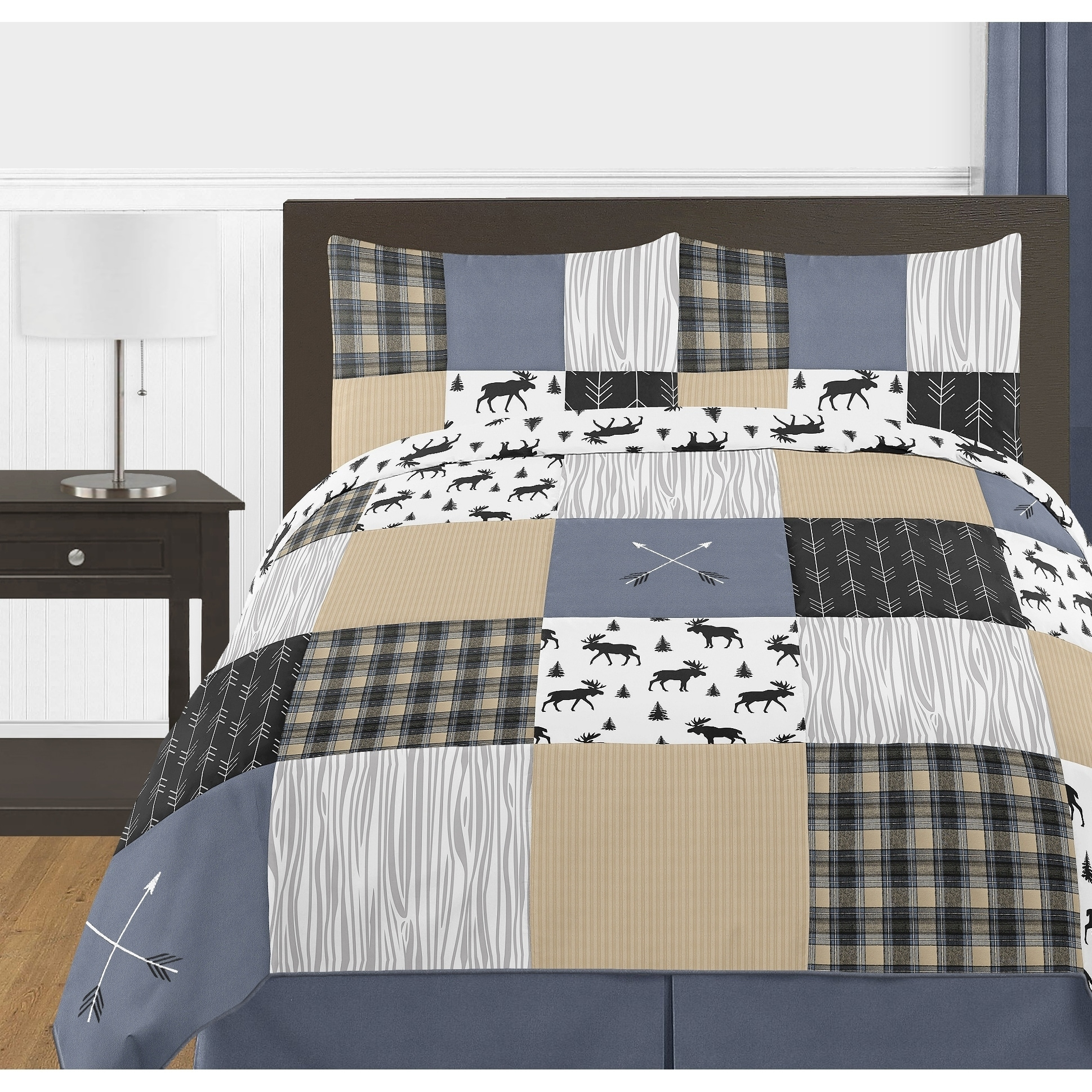 Sweet Jojo Designs Blue Tan Grey Black Woodland Plaid Arrow Rustic Patch Collection Boy 3 Piece Full Queen Size Comforter Set Overstock 27279094