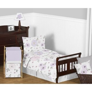 Sweet Jojo Designs Lavender Purple Pink Grey Shabby Chic Watercolor Floral Collection Girl 5-Piece Toddler-size Comforter Set