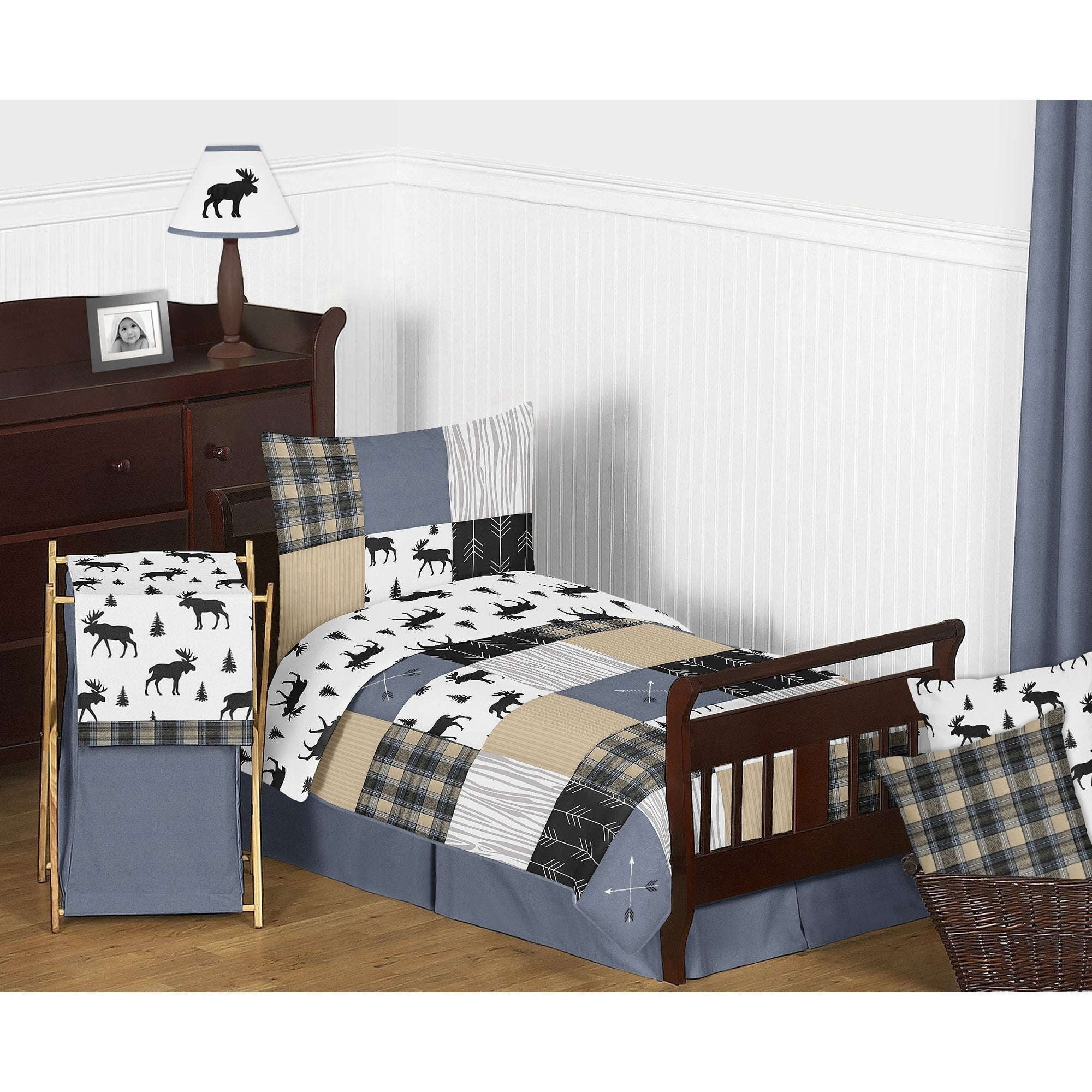 Sweet Jojo Designs Blue Tan Grey Black Woodland Plaid And Arrow Rustic Patch Collection Boy 5 Piece Toddler Size Comforter Set Overstock 27279119