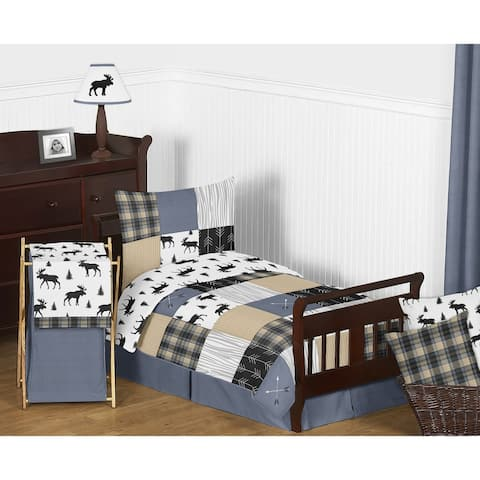 Sweet Jojo Designs Blue Tan Grey Black Woodland Plaid and Arrow Rustic Patch Collection Boy 5-Piece Toddler-size Comforter Set