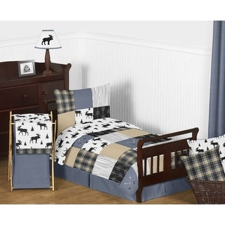 Link to Sweet Jojo Designs Blue Tan Grey Black Woodland Plaid and Arrow Rustic Patch Collection Boy 5-Piece Toddler-size Comforter Set Similar Items in Kids Comforter Sets