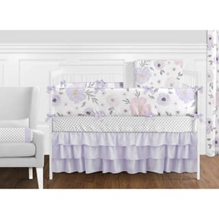 Sweet Jojo Watercolor Floral Lavender 9-piece Shabby Chic Nursery Crib Bedding Set
