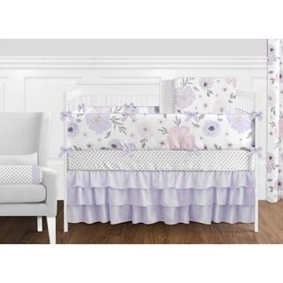 Sweet Jojo Watercolor Floral Lavender 9-piece Shabby Chic Nursery Crib Bedding Set