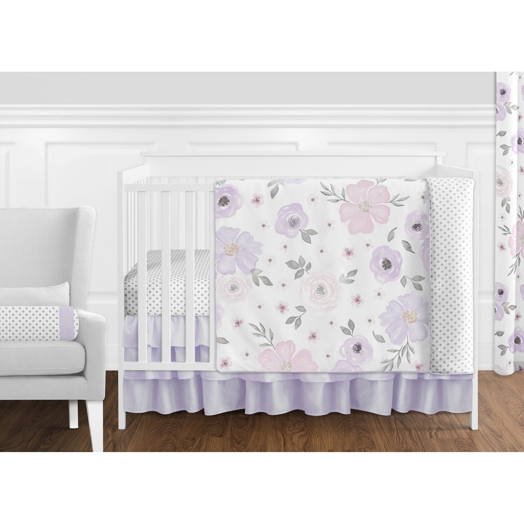 Sweet Jojo Designs Lavender Purple Pink Grey White Shabby Chic Watercolor Fl Collection 11 Piece Nursery Crib Bedding Set