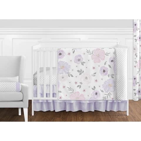 Sweet Jojo Designs Lavender Purple Pink Grey White Shabby Chic Watercolor Floral Collection 11-Piece Nursery Crib Bedding Set