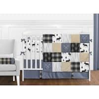 Sweet Jojo Designs Blue Tan Grey Black Woodland Plaid and Arrow Rustic Patch Collection Boy 9-Piece Nursery Crib Bedding Set