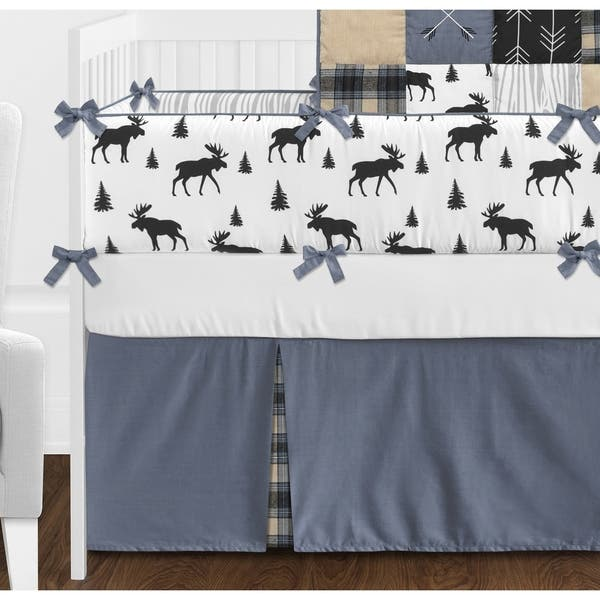 Set of 2 Grey and Black Woodland Plaid and Arrow Side Crib Rail Guards Baby Teething Cover Protector Wrap for Rustic Patch Collection Tan Sweet Jojo Designs Blue