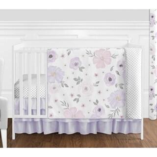 Sweet Jojo Watercolor Floral Lavender Shabby Chic 4-piece Nursery Crib Bedding Set