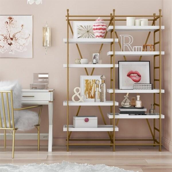 CosmoLiving Yves Goldtone Metal/White Wood Bookcase Etagere