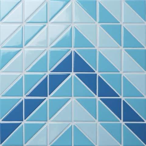SomerTile 10.75x10.75-inch Tri Chevron Santorini Mix Porcelain Mosaic Floor and Wall Tile (10 tiles/8.21 sqft.)