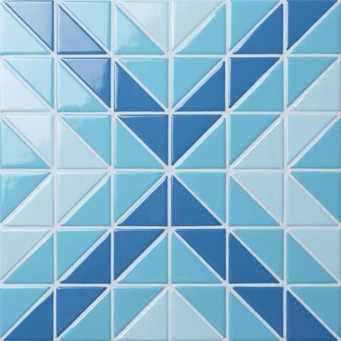 SomerTile 10.75x10.75-Inch Tri Vertex Santorini Mix Porcelain Mosaic Floor and Wall Tile (10 tiles/8.21 sqft.)