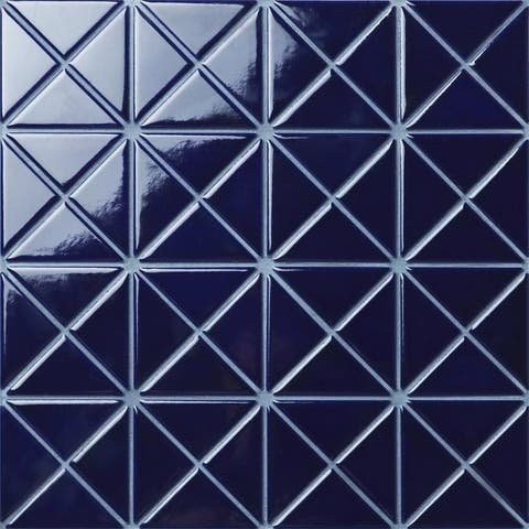 SomerTile 10.125x10.125-inch Tri Crossover Cobalt Blue Porcelain Mosaic Floor and Wall Tile (10 tiles/7.3 sqft.)