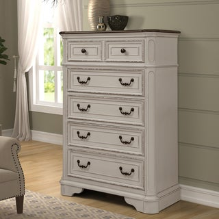 The Gray Barn Ariana Hills Antique White and Oak Wood Chest