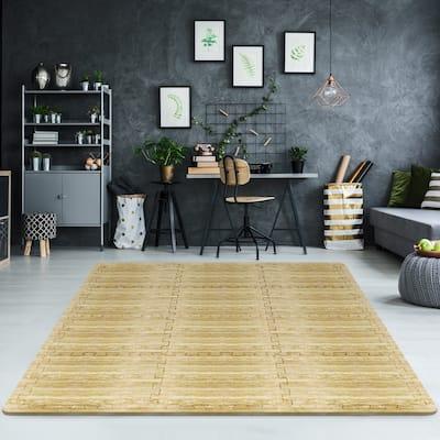 Interlocking Floor Tile Mats, Marbleized Print,12 Tiles