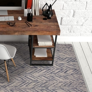 Carson Carrington Gotland Hand-tufted Wool Modern Blue Area Rug