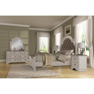 Laval Antique 4-Piece White and Oak Wood Bedroom Set
