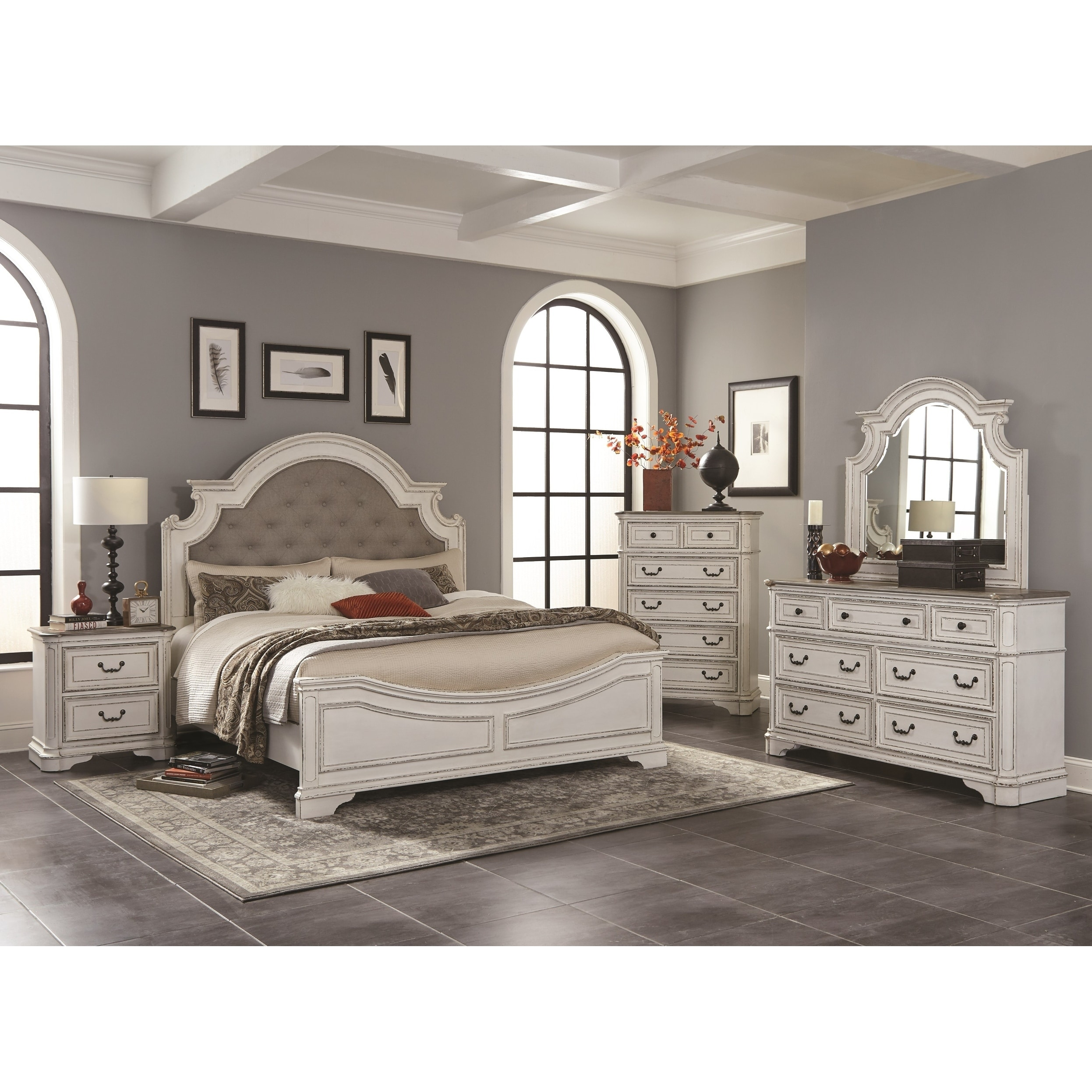 factory authentic cc796 0e426 Laval Antique 5-Piece White and Oak Wood Bedroom Set
