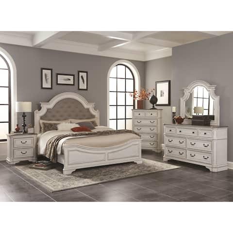 Laval Antique 5-Piece White and Oak Wood Bedroom Set