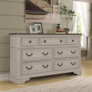 The Gray Barn Ariana Hills Antique White and Oak Wood Dresser