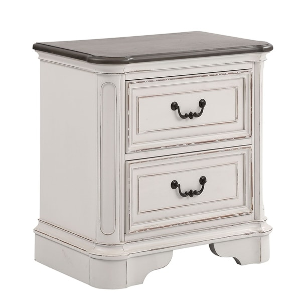Laval Antique White Oak Wood 2-Drawer Nightstand