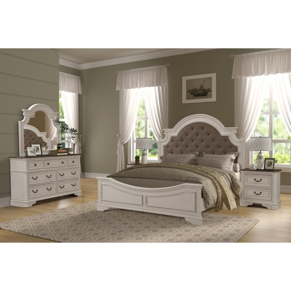 Laval Antique 5-Piece White and Oak Wood Bedroom Set