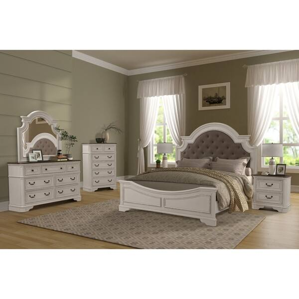 6 Piece White And Oak Wood Bedroom Set